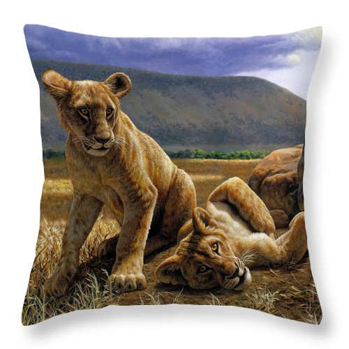 Cat Throw Pillow featuring the painting Double Trouble by Crista Forest