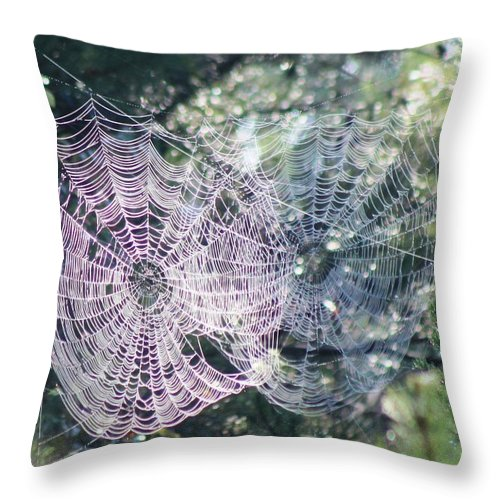 Spider Web Throw Pillow featuring the photograph Double Webbed by Robin Vargo