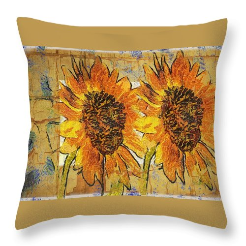 Sunflower Throw Pillow featuring the photograph Double Yellowed by Alice Gipson
