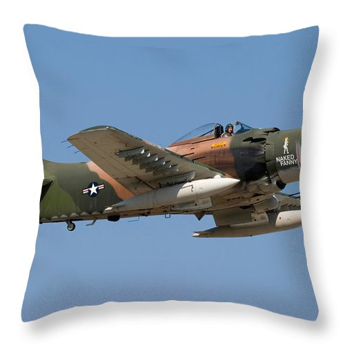 3scape Throw Pillow featuring the photograph Douglas Ad-4 Skyraider by Adam Romanowicz