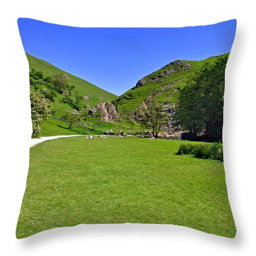 Children Throw Pillow featuring the photograph Dovedale - Stepping Stones Area by Rod Johnson