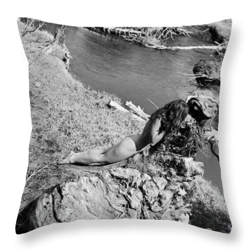 Trees Throw Pillow featuring the photograph Down By The Water by Alexandra Louie