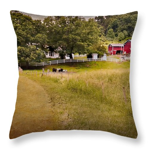 New England Farm Throw Pillow featuring the photograph Down On The Farm by Bill Wakeley