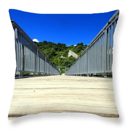 Blue Throw Pillow featuring the photograph Down The Bridge by Valentino Visentini