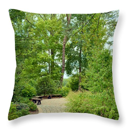 Bench Throw Pillow featuring the digital art Down The Path To The Bench by Eva Kaufman