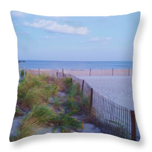 Ocean Throw Pillow featuring the photograph Down The Shore At Belmar Nj by Eric Schiabor