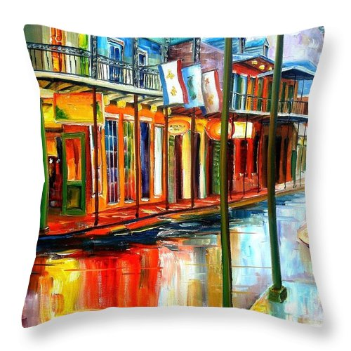 New Orleans Throw Pillow featuring the painting Downpour On Bourbon Street by Diane Millsap
