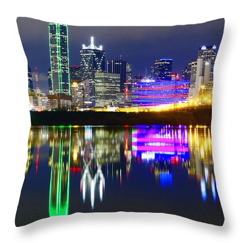 Scenics Throw Pillow featuring the photograph Downtown Dallas Skyline Reflections by Matthew Visinsky