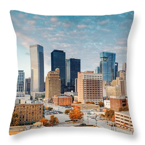 Downtown Houston Throw Pillow featuring the photograph Downtown Houston Panorama by Silvio Ligutti