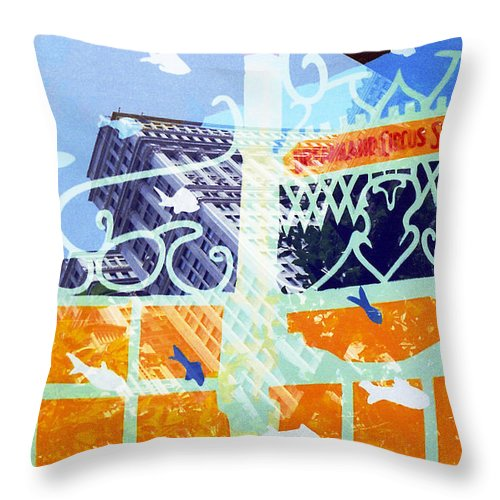 Manhattan Throw Pillow featuring the photograph Downtown Manhattan Fishes by Rosie McCobb