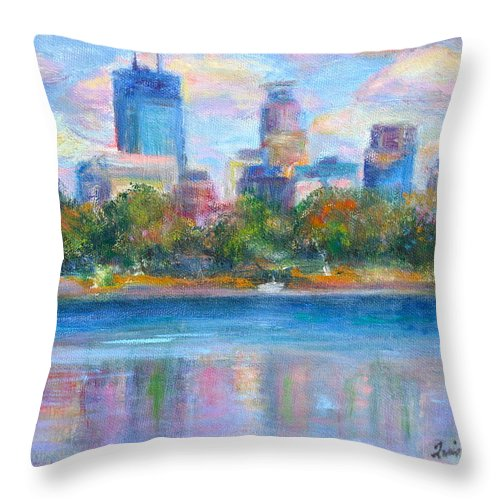 Quin Sweetman Throw Pillow featuring the painting Downtown Minneapolis Skyline From Lake Calhoun by Quin Sweetman