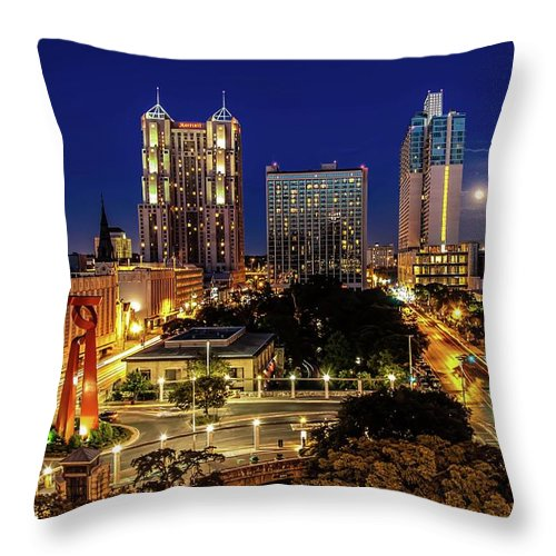 Downtown District Throw Pillow featuring the photograph Downtown San Antonio by John Cabuena Flipintex Fotod