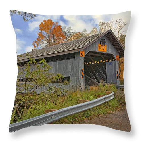 Architecture Throw Pillow featuring the photograph Doyle Road Covered Bridge by Marcia Colelli