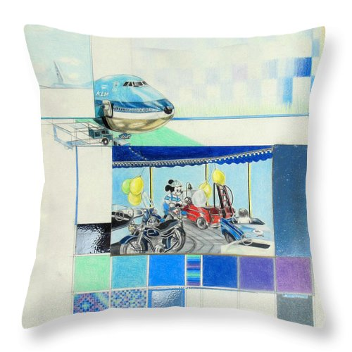 Draaimolen Throw Pillow featuring the drawing Draaimolen by Lucia Hoogervorst