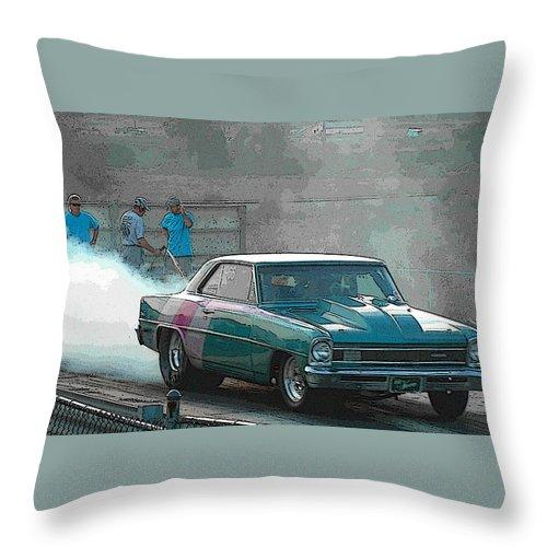 Drag Strip Throw Pillow featuring the photograph Drag Strip by John Dauer