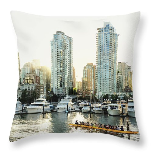 Tranquility Throw Pillow featuring the photograph Dragon Boating In Vancouver by Carlina Teteris
