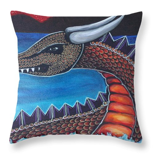 Dragon Throw Pillow featuring the painting Dragon Three by Kate Fortin