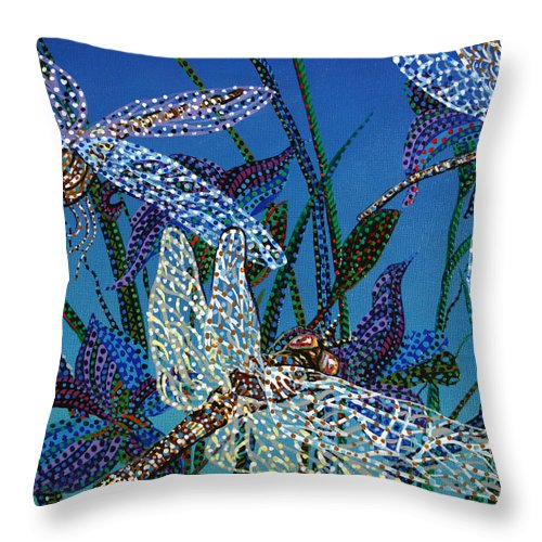 Dragonfly Throw Pillow featuring the painting Dragonflies by Erika Pochybova