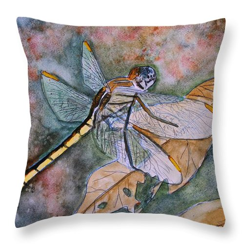 Dragonfly Throw Pillow featuring the painting Dragonfly by Derek Mccrea