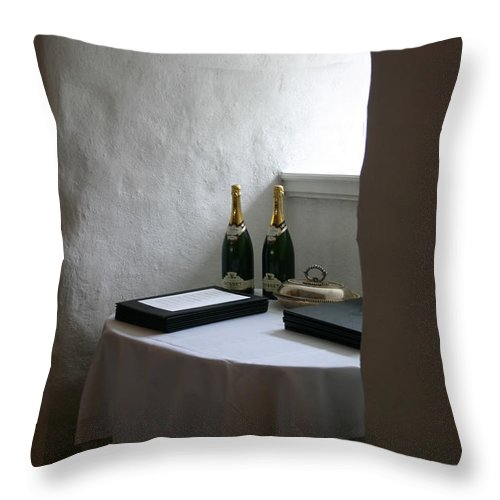 Cellar Throw Pillow featuring the photograph Dragsholm Castle by Susanne Baumann