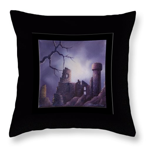 Gothic Throw Pillow featuring the painting Dramar Castle by James Christopher Hill