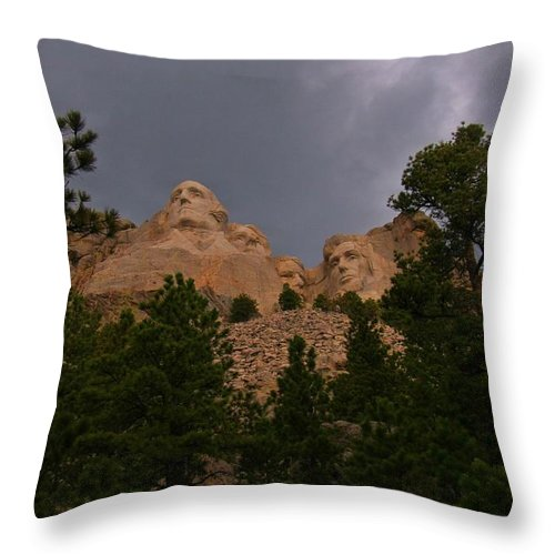 Mount Rushmore Throw Pillow featuring the photograph Dramatic Rushmore by John Malone