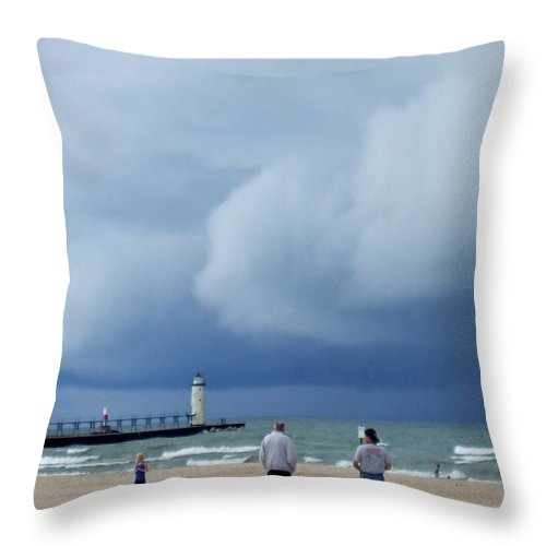 Dramatic Throw Pillow featuring the photograph Dramatic Storm Clouds Over Lake Michigan by Susan Wyman