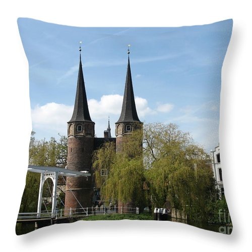 Drawbridge Throw Pillow featuring the photograph Drawbridge - Delft - Netherlands by Christiane Schulze Art And Photography