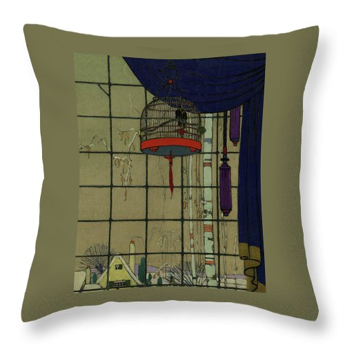 Animal Throw Pillow featuring the digital art Drawing Of A Bid In A Cage In Front Of A Window by H. George Brandt