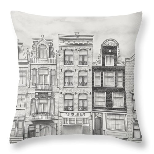 Amsterdam Throw Pillow featuring the drawing Drawn To Amsterdam by Jon Cotroneo