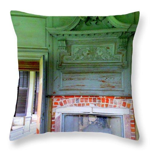 Drayton Throw Pillow featuring the photograph Drayton Fireplace 2 by Randall Weidner