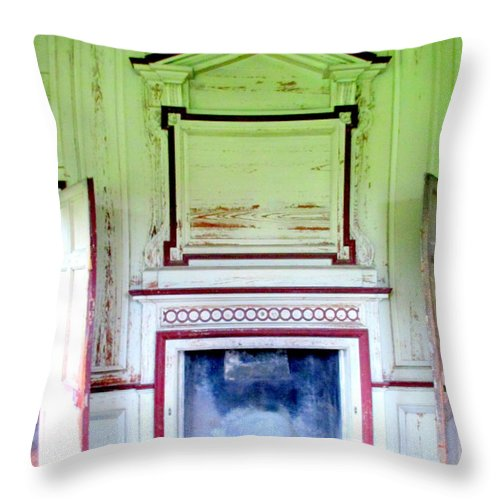 Drayton Throw Pillow featuring the photograph Drayton Fireplace 3 by Randall Weidner