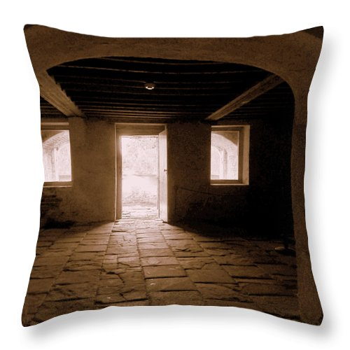 Drayton Throw Pillow featuring the photograph Drayton Hall Basement by Randall Weidner