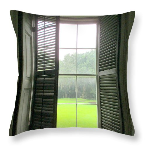 Drayton Throw Pillow featuring the photograph Drayton Interior Window 1 by Randall Weidner
