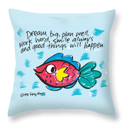 Fish Throw Pillow featuring the painting Dream Big by Sally Huss