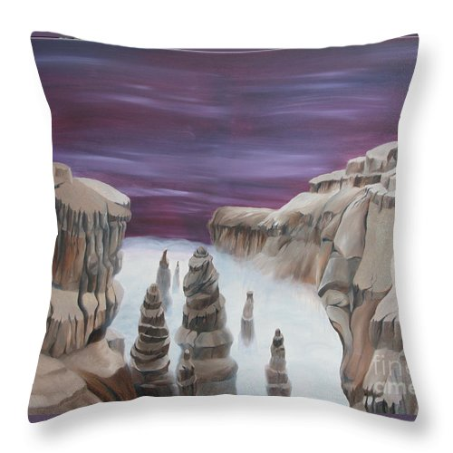 Sureal Throw Pillow featuring the painting Dream Canyon by Richard Dotson