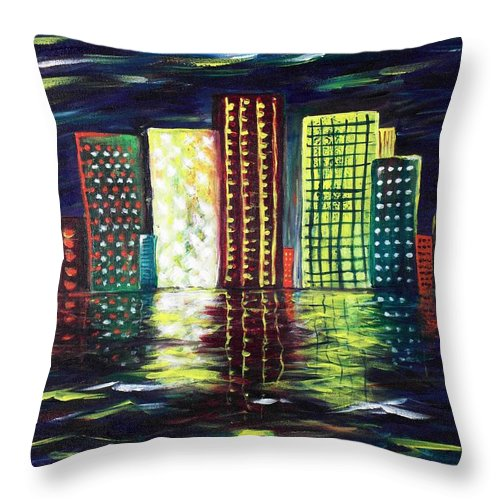 Skyline Throw Pillow featuring the painting Dream City by Anastasiya Malakhova