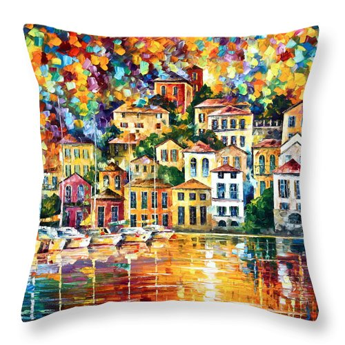 Afremov Throw Pillow featuring the painting Dream Harbor by Leonid Afremov