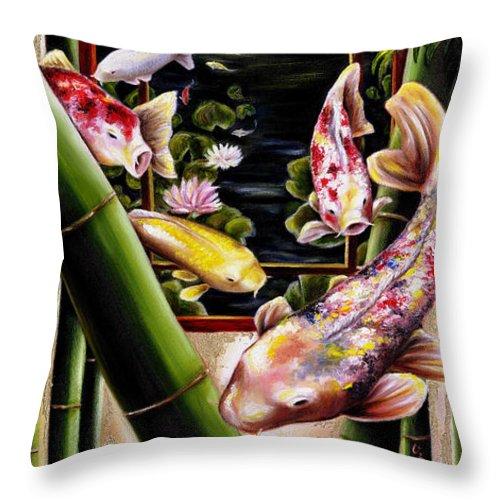 Japanese Throw Pillow featuring the painting Dream by Hiroko Sakai