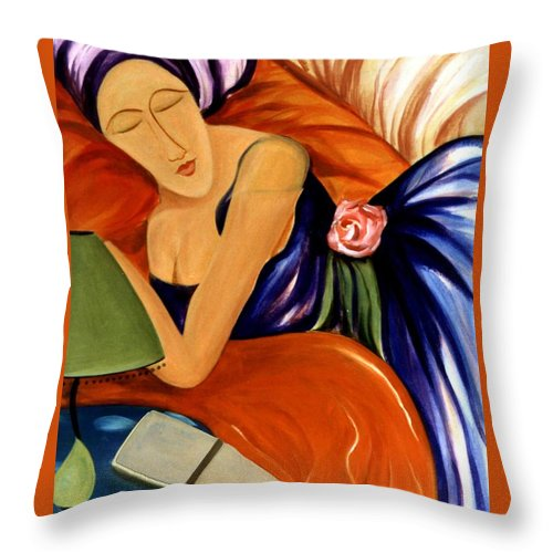 #female #figurative #floral #beauty #dream #fineart #art #images #painting #artist #print Throw Pillow featuring the painting Dream by Jacquelinemari