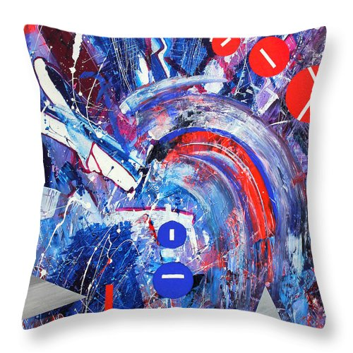 Abstract Throw Pillow featuring the painting Dream Run 2001 by RalphGM