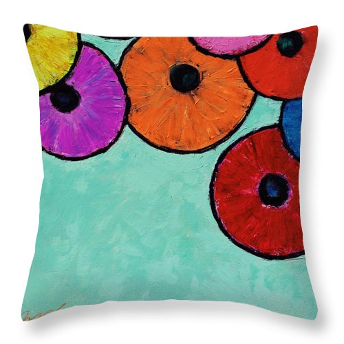 Abstract Throw Pillow featuring the painting Dreaming Beneath Umbrellas by Xueling Zou