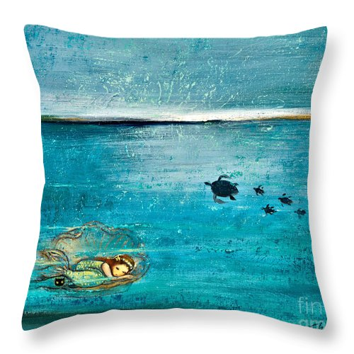 Mermaid Art Throw Pillow featuring the painting Dreaming Mermaid by Shijun Munns