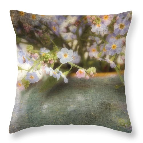 Forgetsmenots Throw Pillow featuring the photograph Dreaming Of Forget-me-nots by Peggy Collins