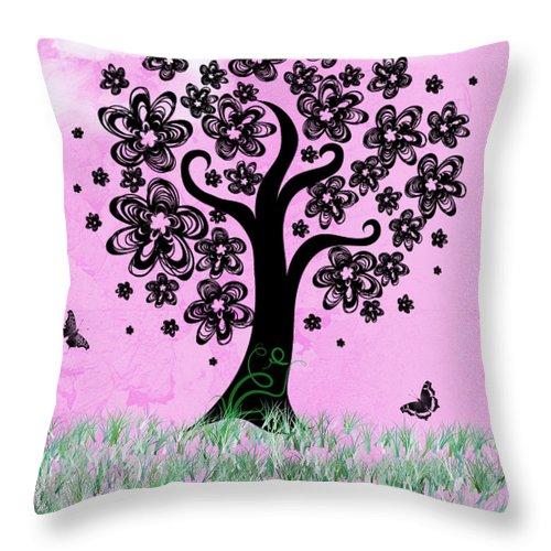 Rhonda Barrett Throw Pillow featuring the digital art Dreaming of Spring by Rhonda Barrett