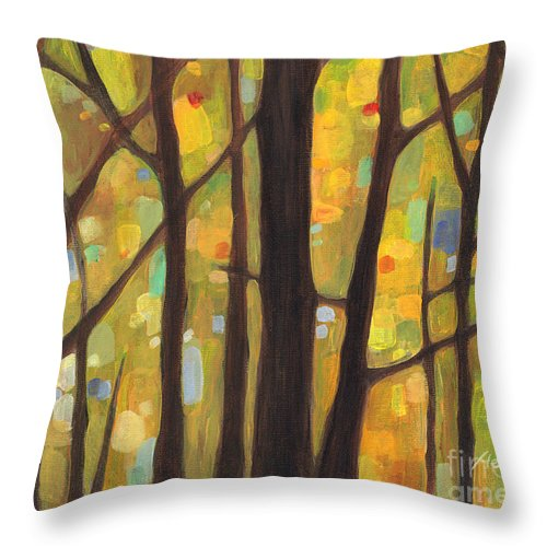 Dreaming Throw Pillow featuring the painting Dreaming Trees 1 by Hailey E Herrera