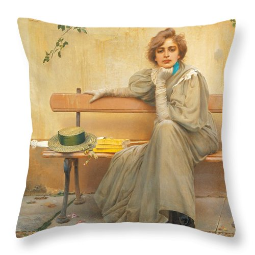 Painting; 19th Century Painting; States Of Mind; Europe; Italy; Corcos Vittorio Matteo; Clothing; Female Figure; Female Portrait; Pretty Throw Pillow featuring the painting Dreams by Vittorio Matteo Corcos