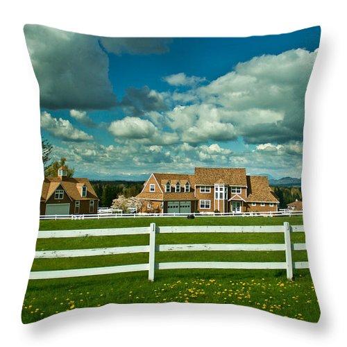 Field Throw Pillow featuring the photograph Dreamy Farmhouse by Eti Reid