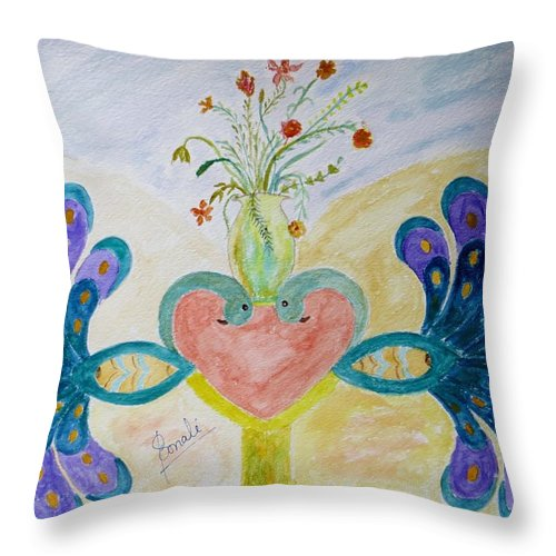 Dreamy Peacocks Throw Pillow featuring the painting Dreamy Heart by Sonali Gangane