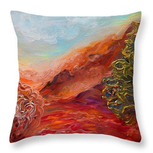Landscape Throw Pillow featuring the digital art Dreamy Landscape by Lilia D